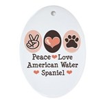 Peace Love American Water Spaniel Oval Ornament