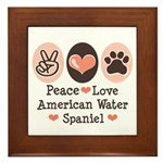 Peace Love American Water Spaniel Framed Tile