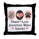 Peace Love American Water Spaniel Throw Pillow