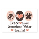 Peace Love American Water Spaniel Postcards (Packa