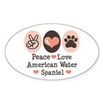 Peace Love American Water Spaniel Oval Sticker