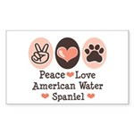 Peace Love American Water Spaniel Sticker (Rectang
