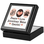Peace Love American Water Spaniel Keepsake Box
