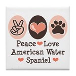 Peace Love American Water Spaniel Tile Coaster