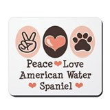 Peace Love American Water Spaniel Mousepad