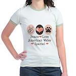 Peace Love American Water Spaniel Jr. Ringer T-Shi