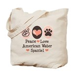 Peace Love American Water Spaniel Tote Bag