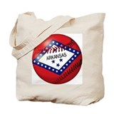 Baseball Arkansas Flag Tote Bag