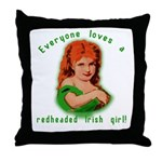 Redheaded Irish Girl Throw Pillow