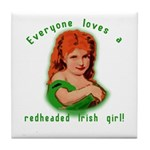 Redheaded Irish Girl Tile Coaster