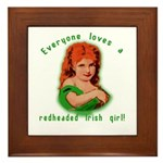 Redheaded Irish Girl Framed Tile
