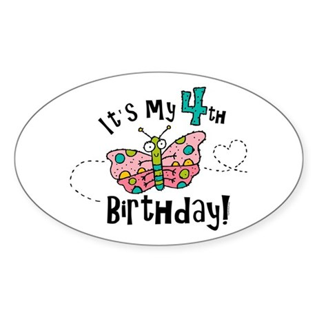 Butterfly Birthday Fourth Oval Sticker