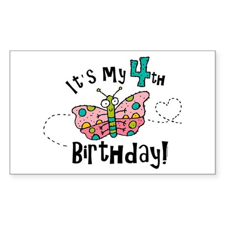Butterfly Birthday Fourth Rectangle Sticker