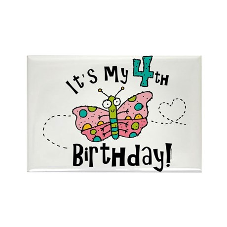 Butterfly Birthday Fourth Rectangle Magnet