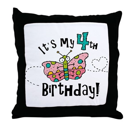 Butterfly Birthday Fourth Throw Pillow