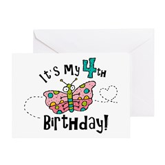 Butterfly Birthday Fourth Greeting Card