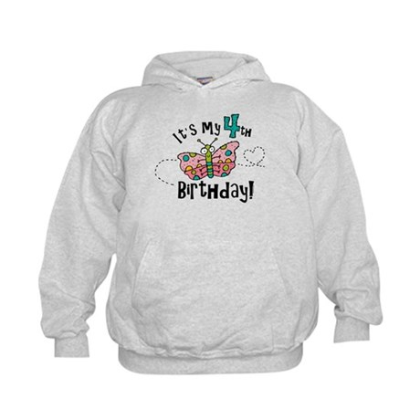 Butterfly Birthday Fourth Kids Hoodie
