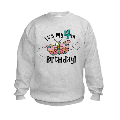 Butterfly Birthday Fourth Kids Sweatshirt