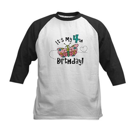 Butterfly Birthday Fourth Kids Baseball Jersey