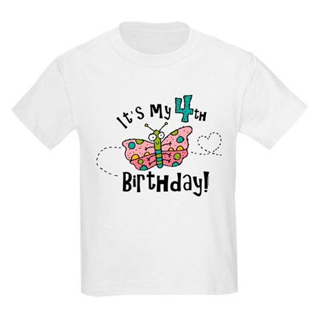 Butterfly Birthday Fourth Kids Light T-Shirt