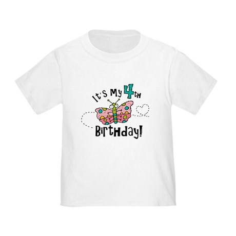 Butterfly Birthday Fourth Toddler T-Shirt