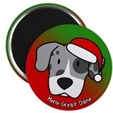 Cartoon Blue Merle Great Dane Christmas Magnet