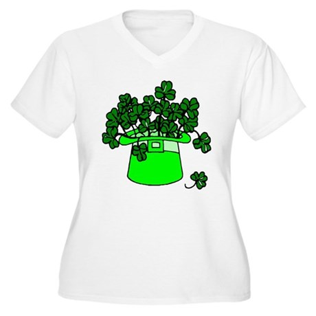 Leprechaun Hat Women's Plus Size V-Neck T-Shirt
