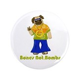 "Bones Not Bombs Hippie Pug 3.5"" Button (100 pack)"