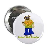 "Bones Not Bombs Hippie Pug 2.25"" Button (10 pack)"