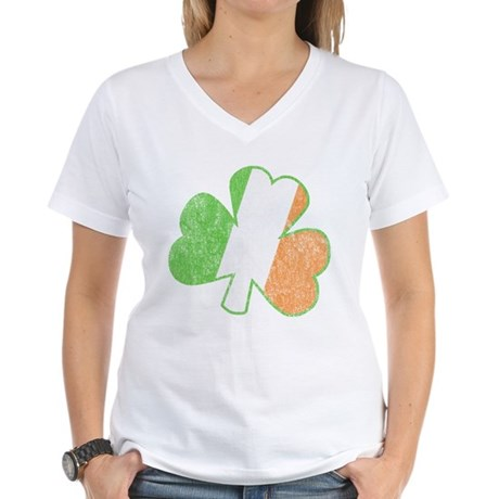 Vintage Irish Shamrock Womens V-Neck T-Shirt