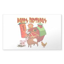 Barnyard 1st Birthday Rectangle Decal
