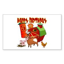 Barnyard 5th Birthday Rectangle Decal
