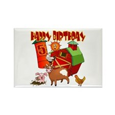 Barnyard 5th Birthday Rectangle Magnet (10 pack)