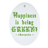 happiness is being green Oval Ornament