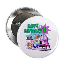 Astronaut 1st Birthday Button