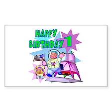 Astronaut 1st Birthday Rectangle Decal