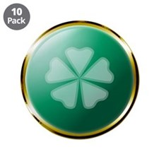"Medallion 5 Leaf Clover 3.5"" Button (10 pack)"