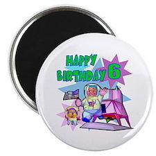 Astronaut 6th Birthday Fridge Magnet