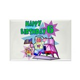 Astronaut 6th Birthday Rectangle Magnet