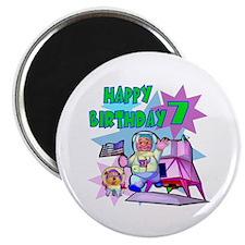 Astronaut 7th Birthday Fridge Magnet
