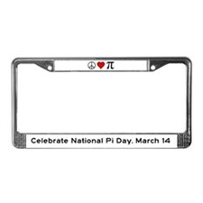 Peace, Love, and Pi License Plate Frame