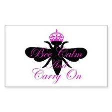 Bee Calm & Carry On Rectangle Decal