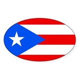 Puerto Rican Flag Oval Stickers