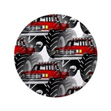 """RED MONSTER TRUCK 3.5"""" Button"""