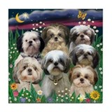 7 Shih Tzu Darlings Tile Coaster