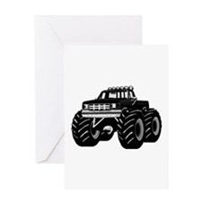 BLACK MONSTER TRUCK Greeting Card