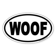 WOOF Euro Oval Sticker for Dog Lovers