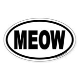 MEOW Euro Oval Sticker for Cat Lovers