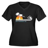 Los Angeles, CA Women's Plus Size V-Neck Dark T-Sh