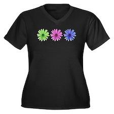 3 color daisies Women's Plus Size V-Neck Dark T-Sh